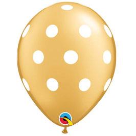 5 ballons dorés avec pois blancs