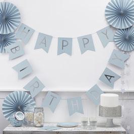 Guirlande décorative Happy Birthday bleu ciel et argent