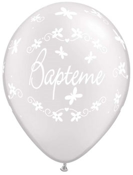 5 Ballons Baptême Blancs Métallisés Ecriture Blanche