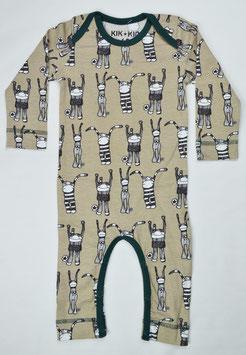 "pyjama ""puppet"" fond beige liseré vert foncé Kik kid"