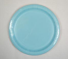 8 assiettes en carton bleu pastel