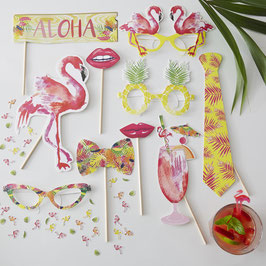 Kit Photoboot pour fête tropicale flamant rose