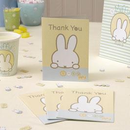 10 cartes de remerciement pour fête anniversaire Miffy