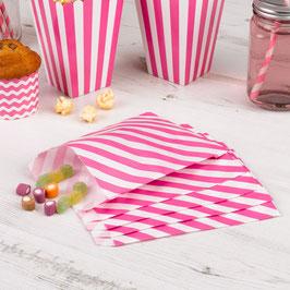 25 sachets en papier rayés rose bonbon et blanc