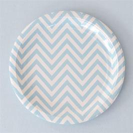12 grandes assiettes blanches chevrons bleu ciel