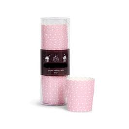 25 coupes à glaces ou cupcakes fond rose pastel plumetis blancs