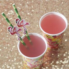 20 pailles en papier imprimées bambou et flamant rose