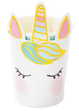 8 Gobelets Tête de Licorne Pastel