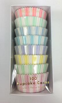 100 caissettes rayées pastel et blanc pour cupcakes meri meri