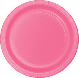 8 assiettes en carton rose bonbon