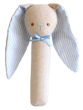 Hochet droit lapin couleur lin et oreilles rayées bleues et blanches Alimrose
