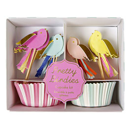 Set caissettes cupcakes et décoration piques oiseaux pastels Meri Meri