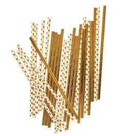 25 pailles en papier unies dorées et blanches coeurs dorés
