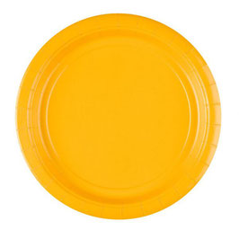 8 assiettes en carton coloris jaune 23cms