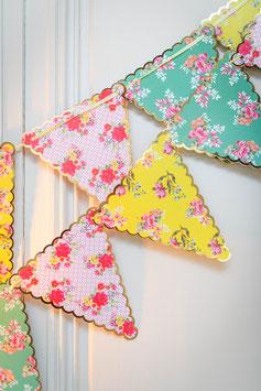 Guirlande fanions triangles liberty bordure dorée