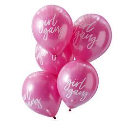 "10 ballons roses avec écriture blanche ""girl gang"""