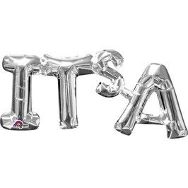 """Ballon métallique argent mot """"It's"""" en majuscule"""