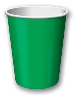8 gobelets en carton vert