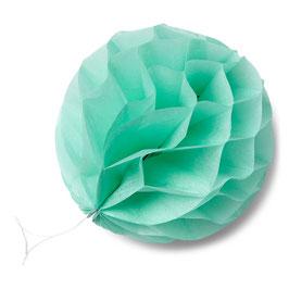 8 petites boules papier alvéolées vert menthe 10cms