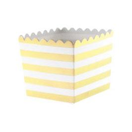 6 Petits pots rayés dorés et blancs pour bonbons ou friandises