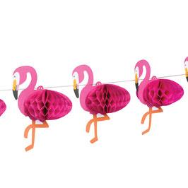 Guirlande flamant rose avec boules alvéolées