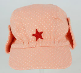 casquette fond rose poudré pois blanc bord ajustable Kik kid