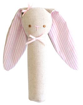 Hochet droit lapin couleur lin et oreilles rayées roses et blanches Alimrose