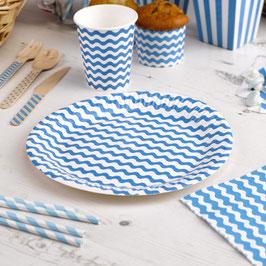 8 assiettes en carton fond blanc vague bleu turquoise
