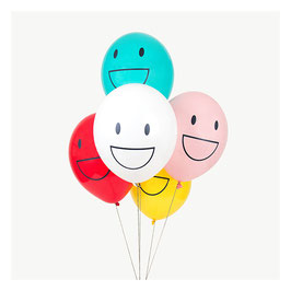 5 ballons imprimés motif Happy faces