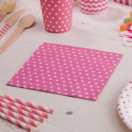 20 serviettes en papier fond rose pois blancs