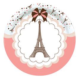 8 Assiettes en carton thème Paris