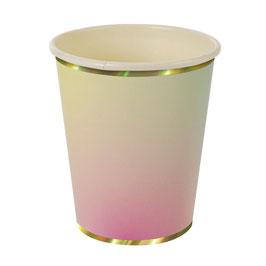 8 gobelets dégradés pastel avec bordure dorée Meri Meri