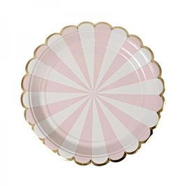 8 grandes assiettes en carton rayures rose pastel et blanc meri meri
