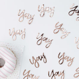 Confettis de table rose gold  écriture Yay