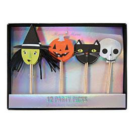 12 piques pour gâteaux personnages halloween