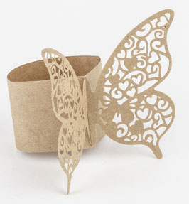 20 Ronds de Serviettes Papillons Kraft