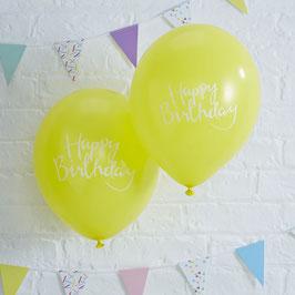 "10 ballons gonflables jaune vif avec écriture blanche ""Happy Birthday"""