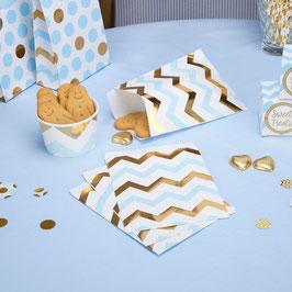 25 sachets en papier avec chevrons bleus et dorés