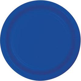 8 assiettes en carton bleu électrique