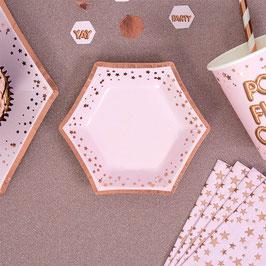 8 Petites assiettes canapés rose pastel étoiles rose gold