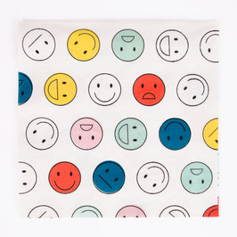 20 serviettes en papier motif Happy faces