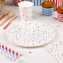 8 assiettes en carton étoiles multicolores