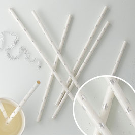 25 pailles en papier blanches avec étoiles argents