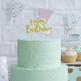 """Bougie """"Happy Birthday"""" écriture or pour gateau anniversaire"""