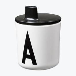 Bec verseur noir pour tasse lettres design letters