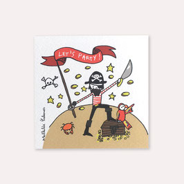 6 invitations anniversaire Pirates avec 6 enveloppes blanches , Mathilde Cabanas