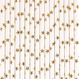 25 pailles blanches étoiles dorées my little day