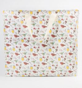 "Grand sac de rangement motif ""oiseaux"""