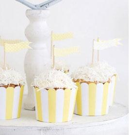 25 coupes à glace ou cupcakes fond ivoire rayures jaune pastel