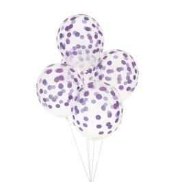 5 ballons transparents imprimés de pois violets my little day